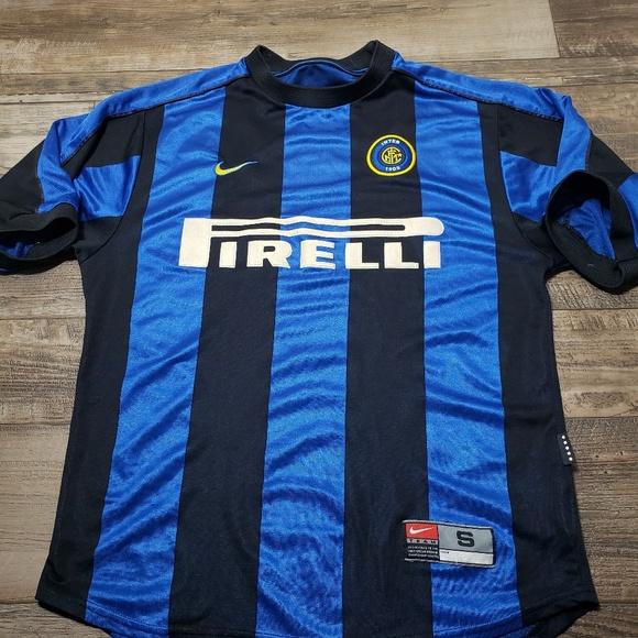 size 40 01792 99d96 Vintage nike inter Milan pirelli soccer Jersey